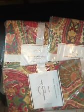 POTTERY BARN ROSALIE WARM GREEN RED FULL/QUEEN DUVET PAISLEY + 2 STAND SHAMS NEW