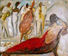 TAT VILÀ  - Oleo s/tela 8F 43 x 38 cm. Mujer sobre cheslong