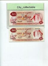WORLD BANK NOTE - GUYANA $1 DIFF GOVERNORS' SIGN. UNC # B134