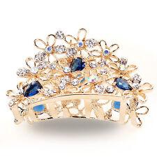 CD85 Blue Austrian Rhinestone Crystal Little Hair Claw Clamp Clip Alloy Barrette