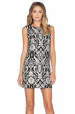 NWT ALICE+OLIVIA CLYDE SHIFT A-LINE BLACK/SILVER JACQUARD WOMEN'S DRESS SIZE 10