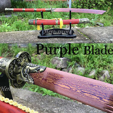 Damascus folded steel Purple Blade Chinese Sword Battle Ready Saber