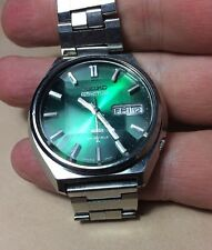 Seiko 5 Actus 6106-8690 Emerald Green Dial Cut Dial Signed Bracelet Japan Made