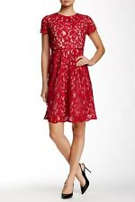 Adrianna Papell Women's Red Silk Combo Scalloped Lace Dress Sz 2 $140 *I327