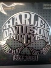 "Harley Davidson Skull 3d emblem tag chrome adhesive sticker 3 1/2"" NEW"