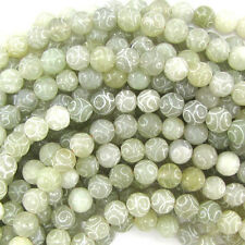 "8mm new jade carved round beads 15.5"" strand"