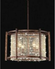 4-light Dark Brown Crystal Chandelier Pendant
