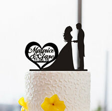 Personalized Couple Name with Date Wedding Cake Toppers Romantic Silhouette Kiss