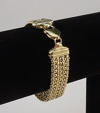 ITALY 24k GOLD  925 STERLING SILVER FACETED BEADS PAVE RICCIO CHAIN BRACELET