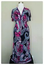Women's Plus Size 3X Maxi Dress Black Paisley Kimono Sundress Beach Cover Up NWT
