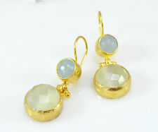 OttomanGems semi precious gemstone earrings gold Agate Cat eye Turkish handmade