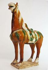 Chinese 15.2-inch Tang Style Sancai 3 Color Porcelain Pottery Horse Statue