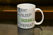 PERSONALISED Eat Sleep Baseball Fan Printed Mug. Fun Novelty Gift Sport Coffee