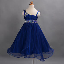 New Girls Dark Blue Flower Girl Bridesmaid Pageant Party Dress 8-9 Years