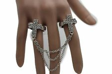Women Double Silver Rings Metal Chains Fashion Elastic Band 2 Finger Cross Charm