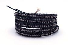"CHAN LUU Beautiful Gunmetal Nuggets on Black Leather 5 Wrap Bracelet 33 - 35"""