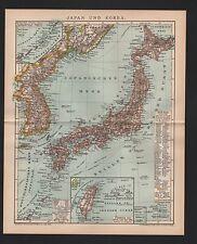 Landkarte map 1897: JAPAN UND KOREA. TSHI-SHIMA THAI-WAN. Maßstab: 1 : 8.000 000