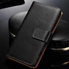 Genuine Leather Case For Nokia Lumia 720 New Black Glossy Flip Card Wallet Cover