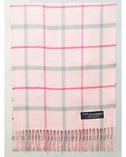 100% Cashmere Scarf Pink Gray Check Tartan Plaid SCOTLAND Wool Women R3923 Wrap