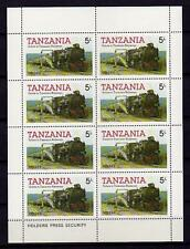 A7955) TANZANIA Animals Old Locomotives - Trains M/S 4v.  MNH**