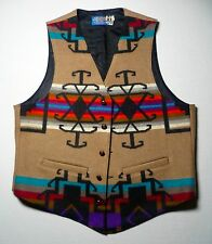 Vtg PENDLETON Blanket Pattern Wool Western Cowboy Casual Hippie Dress Vest  42