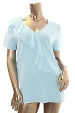 Cable & Gauge Women $60 Corydalis Blue Laced Front V-Neck Short Sleeve XL