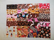 """24 I SPY 6 1/2"""" ALL CHOCOLATE candy and desserts novelty fabric quilting squares"""