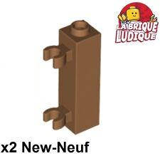 Lego - 2x Brique Brick Modified 1x1x3 clip charnière porte m.d.flesh 60583b NEUF