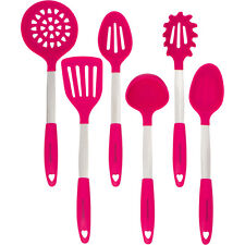 Magenta Pink Cooking Utensil Set - Stainless Steel & Silicone Heat Resistant