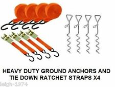4 x Heavy Duty Caravan Awning storm pegs stakes anchors Ratchet tie down Straps.
