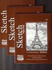"""3 ART 9"""" x 12"""" SKETCH PAPER PAD Ideal for PENCIL-PASTEL-CHARCOAL 90 Sheets Total"""