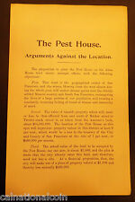 """""""The Pest House Arguments Against the Location"""" Objections 1896"""