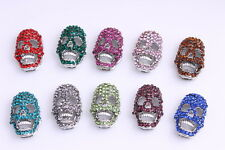 Nice Skull crystal pave Disco Connector bead making bracelet 20mm x 12mm 10pcs