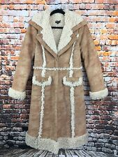 BEBE Women's Size Medium Camel Faux Suede Fur Sherpa Mid-Length Long Coat
