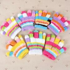 Cute Baby Kids Full Finger Warm Winter Gloves Toddler Knit Rainbow Mittens A52