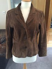 Wallace and sacks Brown suede jacket with weave detail- Size 12