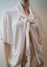 Cop copine blanc hiver à capuche col cravate à manches courtes tricot cardigan top m