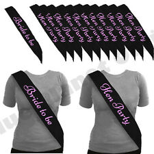 15X *BLACK WITH PINK* HEN NIGHT PARTY DO SASH 1 BRIDE TO BE SASH GIRLS NIGHT OUT