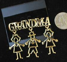 New Original Card Old Stock ANNE KLEIN Goldtone Dangle GRANDMA Shape Pin Brooch