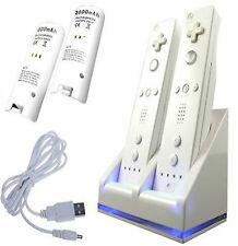 NEW WHITE CHARGER DOCKING STATION AND 2X BATTERY FOR Wii REMOTE CONTROLLER
