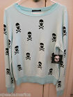 NWT Wildfox Couture Blue Skull Beach Baggy Jumper Sweatshirt Top Small S $108