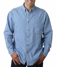 UltraClub Long-Sleeve Cypress Denim with Pocket Solid Button Up Shirt Men's 8960