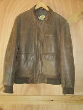 Cabala's Brown Leather Distressed Look Bomber Jacket Men's Large WOR
