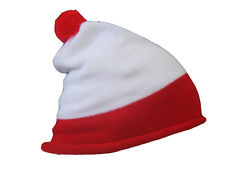 NEW RED WHITE BOBBLE KNITTED HAT UNISEX FANCY DRESS BOOK DAY COSTUME ACCESSORY