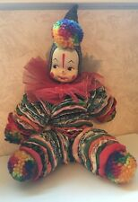 VINTAGE YOYO QUILT SCRAP AND YARN POM POMS CLOWN DOLL GUC