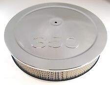 "Chrome Steel 14"" x 3"" Air Cleaner Breather 350 Logo Chevy Camaro Chevelle C10"