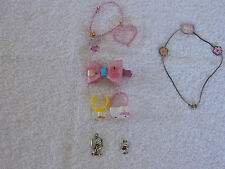 HELLO KITTY SANRIO LOT OF 7 CHARMS RINGS HAIR CLIP BRACLET & BAG CHARM