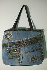 Hand Made Jean Denim Tote Bag or Beach Bag, School Bag or Nappy Bag