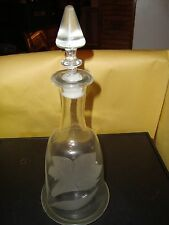 """Vintage Frosted Lily Decanter 14"""" Tall Clear Glass With Stopper EX Condition"""