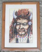1961 HEATHER ROBINSON NATIVE CANADIAN INDIAN PORTRAIT WATERCOLOR PAINTING SIGNED